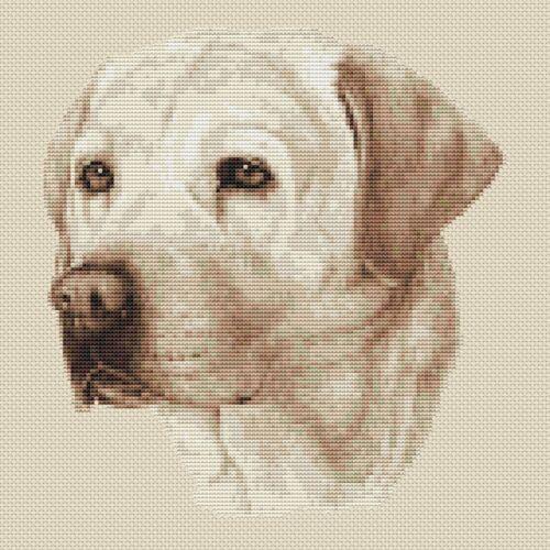 "Labrador Dog Cross Stitch Design Sepia,10/""x10/"",25x25cm,kit or chart"