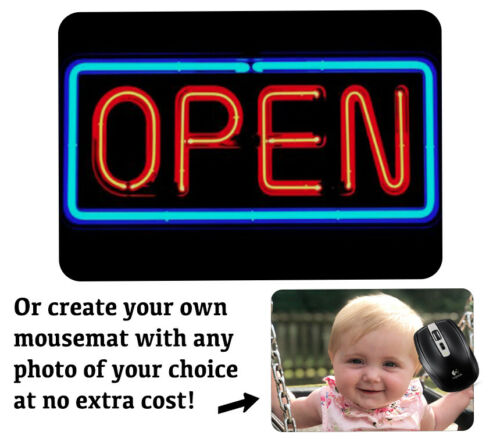 Retro Neon Open Shop Sign Computer Mousepad Light Up Print American Diner X443