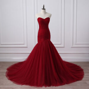 Details about Real Photo Corset Bodice Mermaid Wedding Dress Burgundy  Bridal Gowns Plus Size