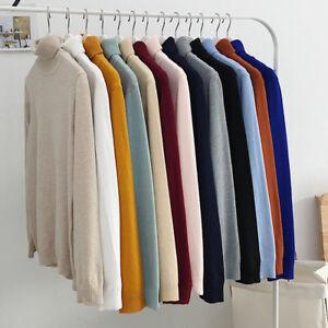 Winter-Men-Slim-Warm-Knit-High-Neck-Pullover-Sweater-Top-Turtleneck-Solid-Jumper