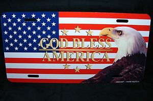 God Bless America American Flag Eagle Metal Car License Plate Tag