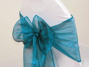 100pc Dark Teal Organza Chair Sash Bows For Wedding Banquet Party Event Decor Ebay