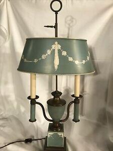 "RARE Vintage Stiffel 2 Candlestick Brass Table Lamp W/ Adjustable Shade 27"" Tall"