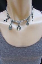 "New Men 14"" Short Biker Fashion Necklace Silver Chain Luck Signs Pendants Rocker"