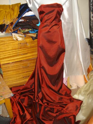 "1M  RUST //RUSTY RED   COLOURED  TAFFETA  FABRIC 58/"" WIDE"