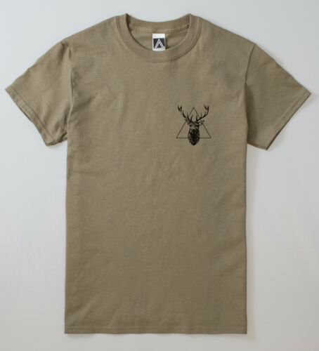 Deer Tattoo T-shirt Triangle Hipster Stag Sketch Tee Xmas Festive Christmas Top