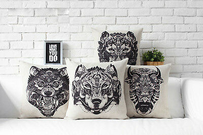 Retro black totem Wolf Tiger Bull Beast pattern Cushion Cover throw pillow Case
