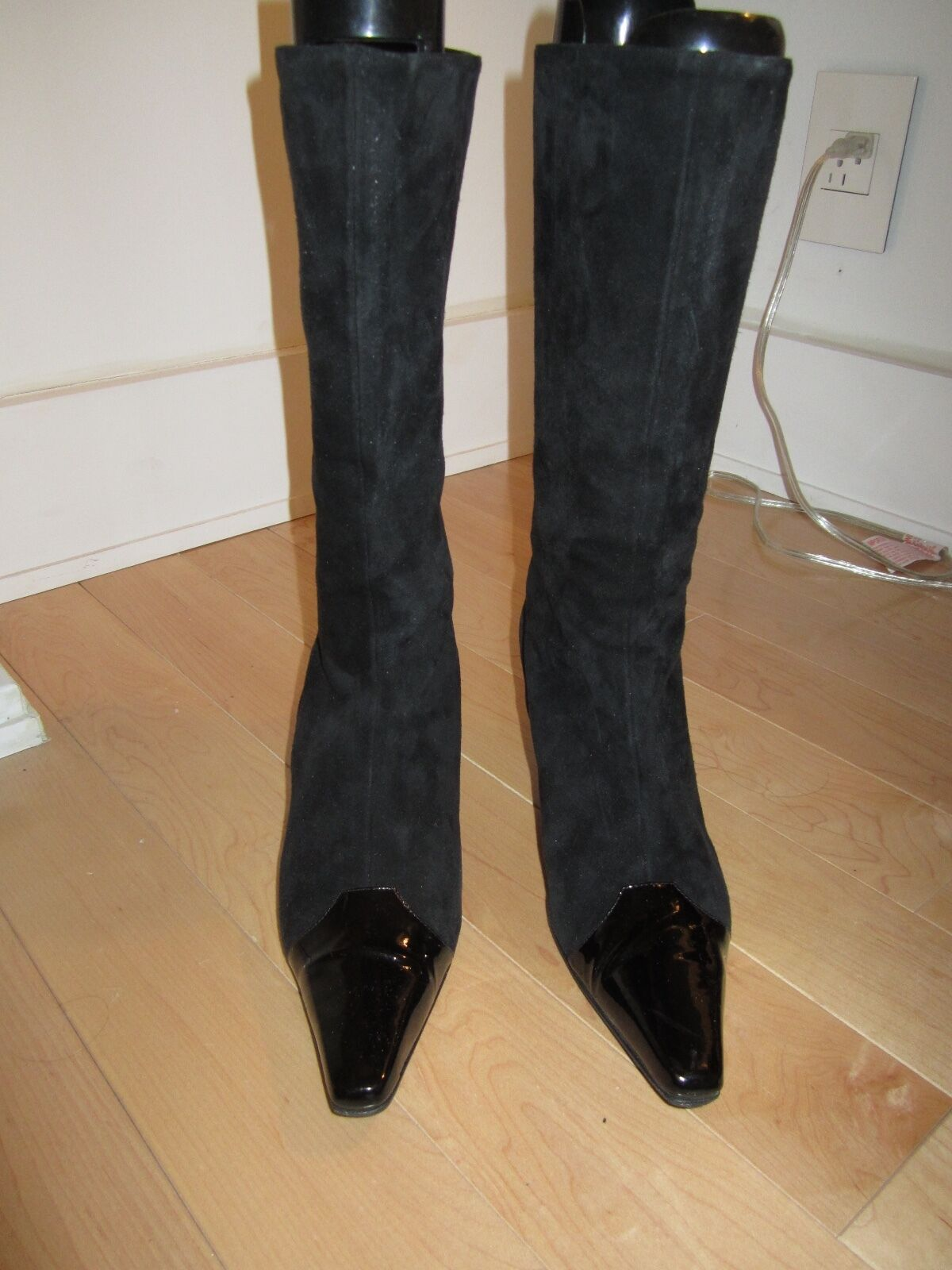 PANCALDI BLACK SUEDE BOOT WITH PATENT TOE SIZE 10