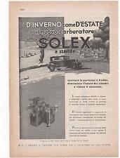 Pubblicità vintage SOLEX carburatore auto old advertising werbung reklame B2