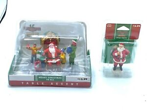 LEMAX TABLE ACCENT MERRY CHRISTMAS TO ALL VILLAGE FIGURES COVENTRY COVE NEW 2PC