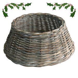 Image Is Loading Grey Whitewash Rattan Wicker Christmas Tree Skirt Base