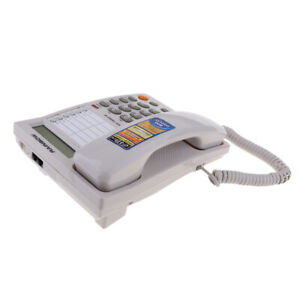Caller-ID-Phone-for-wall-or-desk-with-Speaker-and-Memory-White