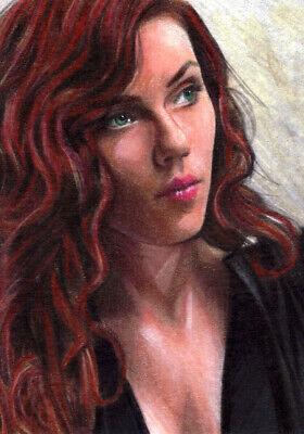 AVENGERS Scarlett Johansson BLACK WIDOW  MARVEL SKETCH Card PRINT 1 of 15 ART