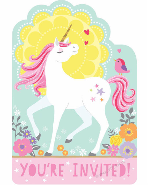 Magical Unicorn Invitations 8 Pack Birthday Party Supplies For Sale