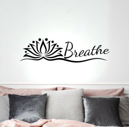 Vinyl Wall Decal Yoga Studio Breathe Lotus Stickers Mural 35 in x 9.5 in gz269