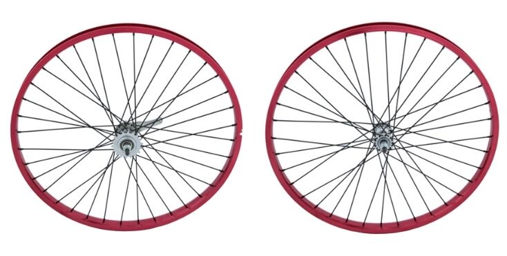 Beach Cruiser Bicycle 26 x2.125 Heavy Duty 12g Front &Rear Wheel anodized RED