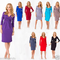 UK Women Ladies Wrap V-Neck Jersey,Cocktail,Office,formal Party Dress Size 8-18
