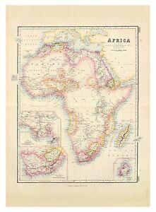 Old Vintage Decorative Map of Africa Fullarton 1872