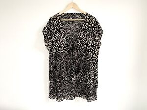 TS-Taking-Shape-SZ14-Animal-Print-Mini-Dress-Ruffle-Detail-Black-Short-Sleeve