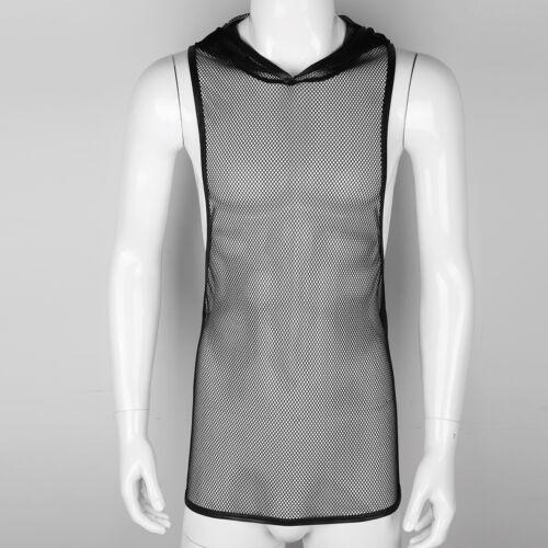 Men/'s Long Sleeve Fishnet Mesh T-shirt Top Blouse Clubwear Costumes Undershirts