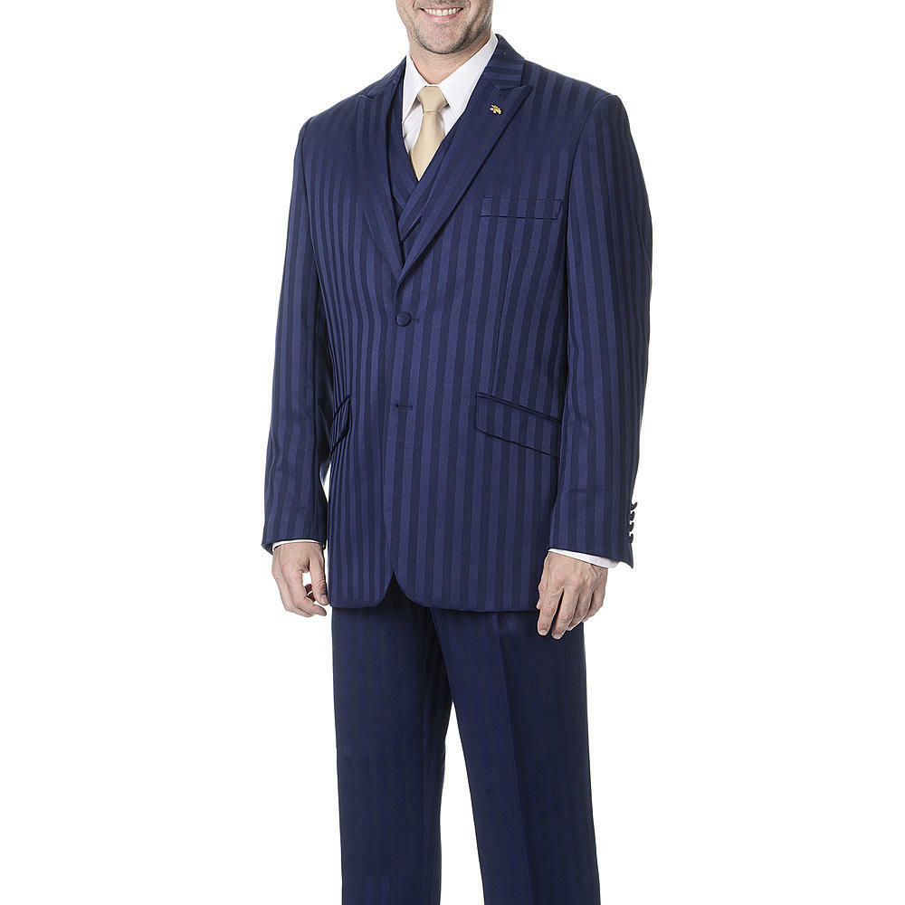 NWT LUXURY Herren SUIT BY FALCONE 380-102 NAVY COLOR 3PC SET REG.399