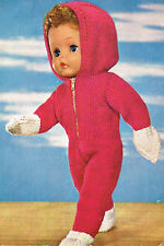 """Dolls clothes knitting pattern.16"""" doll. Zipped Hooded jump suit ( V Doll 136)"""