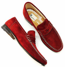 MORESCHI Brick Red Suede Penny Loafers *Made in Italy *Men's U.S. 8.5