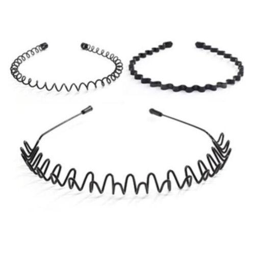 Unisex Men/'s Women Sports Wave Hair Band Black Aliceband Headwear Metal Hairband