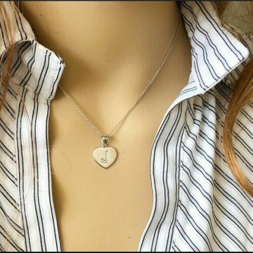 """16/"""" 18/"""" 20/"""" 22/"""" Details about  /925 Sterling Silver CZ Initial Letter W Heart Pendant Necklace"""