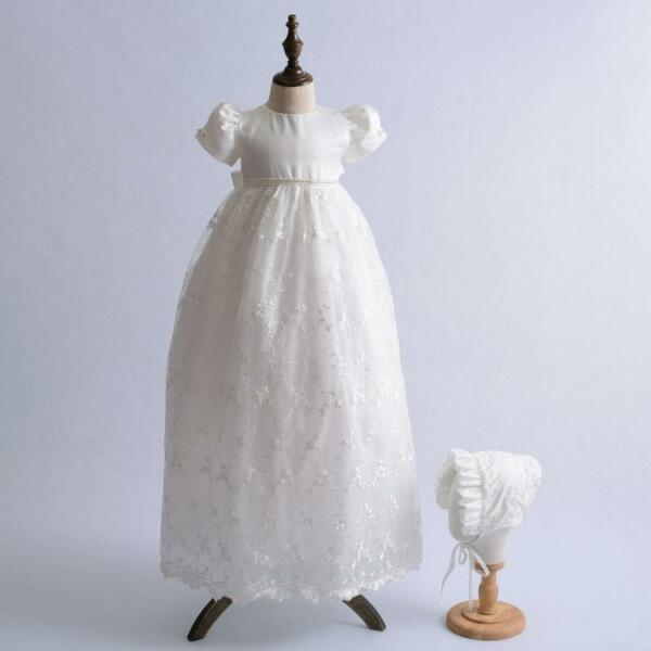 Infant Newborn Baby Baptism Dress Embroidery Over-length Lace ...