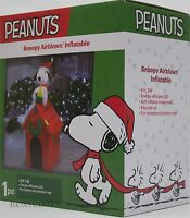 Christmas Peanuts 4 Ft Lighted Snoopy & Woodstock Doghouse Airblown Inflatable
