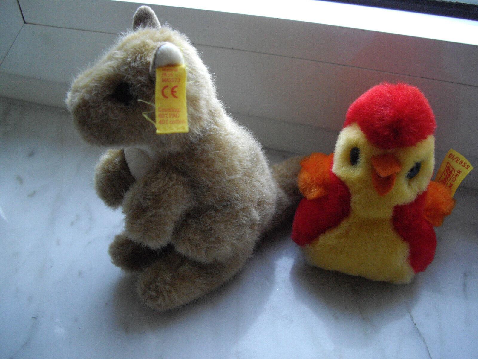Original Steiff Tiere Känguruh Mini Cosy Vogel 5563 10 Knopf im Ohr Fahne Bird