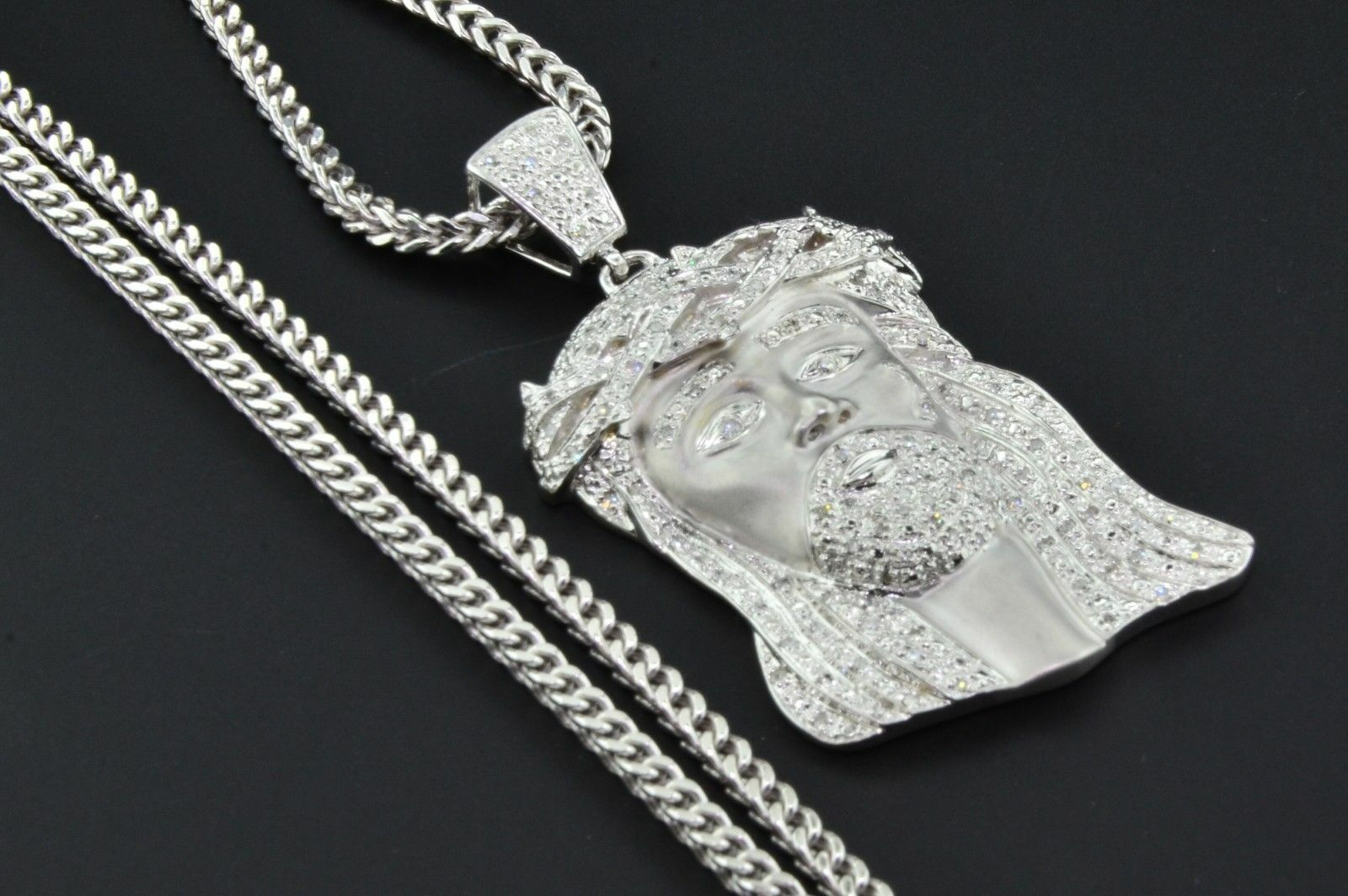 10K White gold Diamond Mini Jesus Piece Head Pendant 1.40 Ct. with Franco Chain