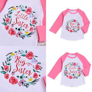33753f618f0dc Details about Family Matching Tops Little/Big Sister flower T-shirt Newborn  Baby Girls Clothes