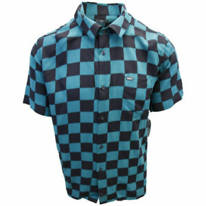 OBEY-Men-039-s-Black-amp-Green-Checkered-S-S-Shirt-Retail-59-99-S06