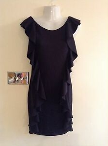 BLACK-STRETCHY-RUFFLE-MINI-DRESS-SIZE-10-NEW-WITH-TAG