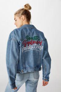 NRL Womens Cropped Denim Jacket Jackets  In  Rabbitohs