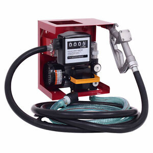 110V Electric Diesel Oil Fuel Transfer Pump w/ Meter +13' Hose & Nozzle New