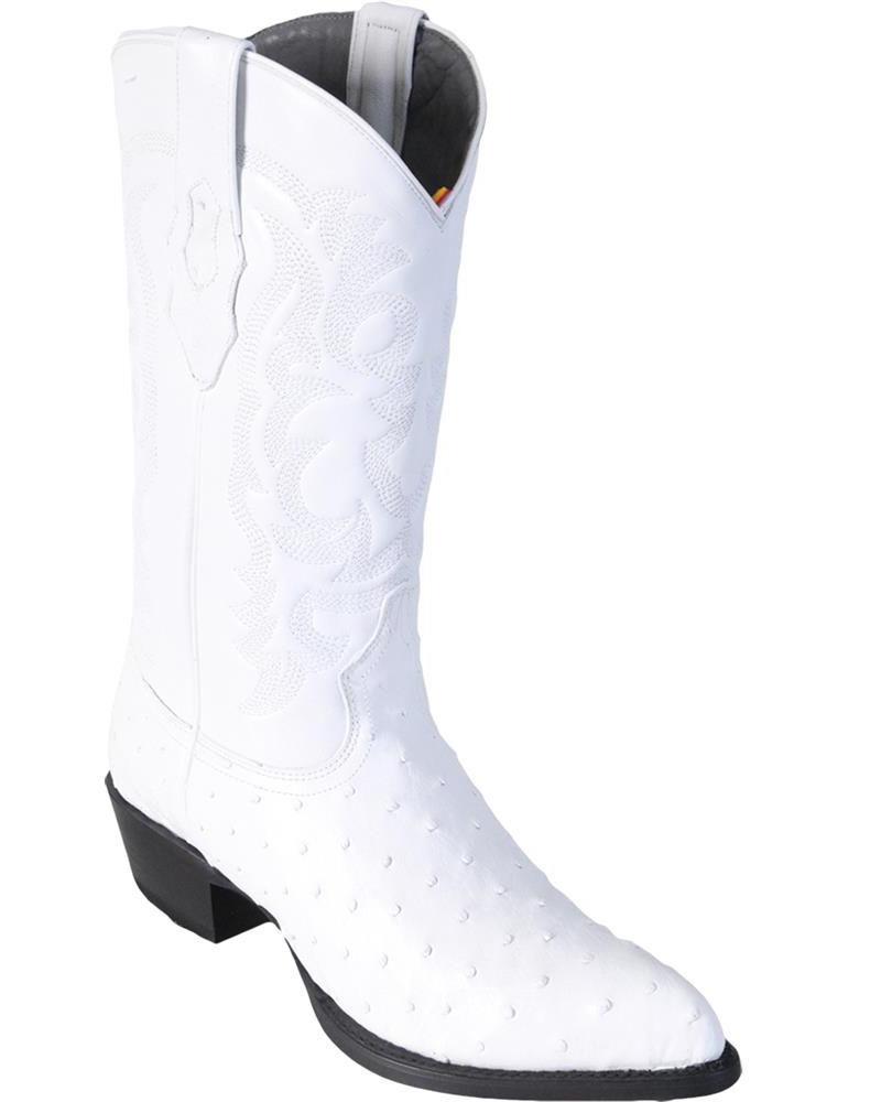 LOS ALTOS Hombres blancoo Original Bota de vaquero occidental Completo Pluma Avestruz J-Toe (D)