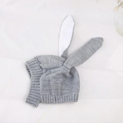 Bunny Rabbit Ear Beanie Hat Baby Girl Toddler Crochet Knit Winter Earflap Cap KS