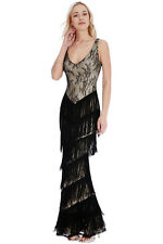 New-Black Lace  Fringed Evening Dress-Gatsby Party Cruise Dance Maxi -16/44