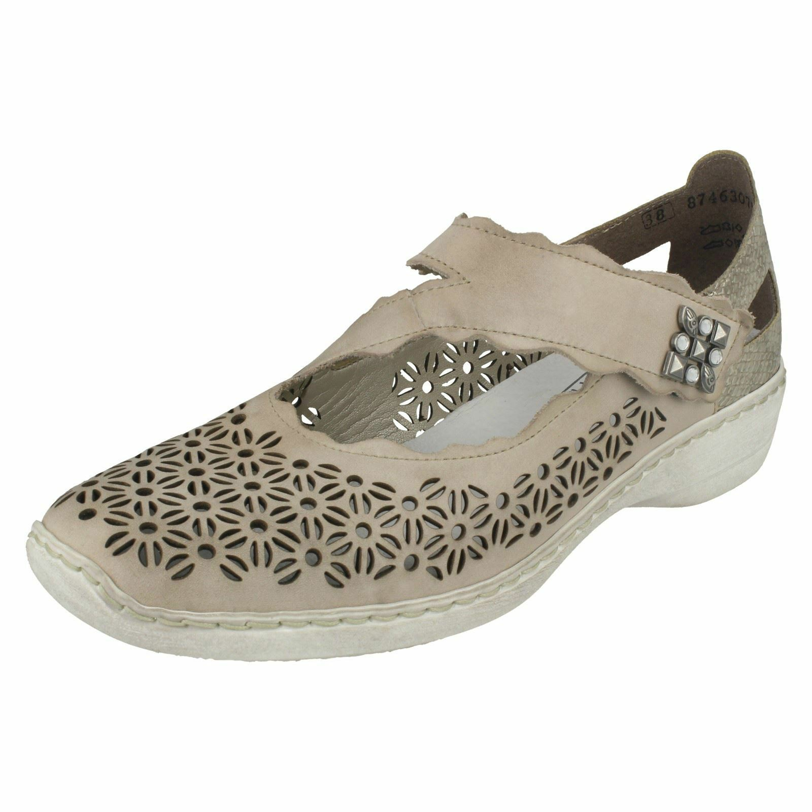 Ladies Rieker 413G4 Grey Leather Casual Mary Jane Bar shoes