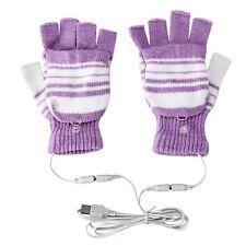 USB Heated Warm Gloves Half Finger Winter Heating Knitting Mittens Purple New