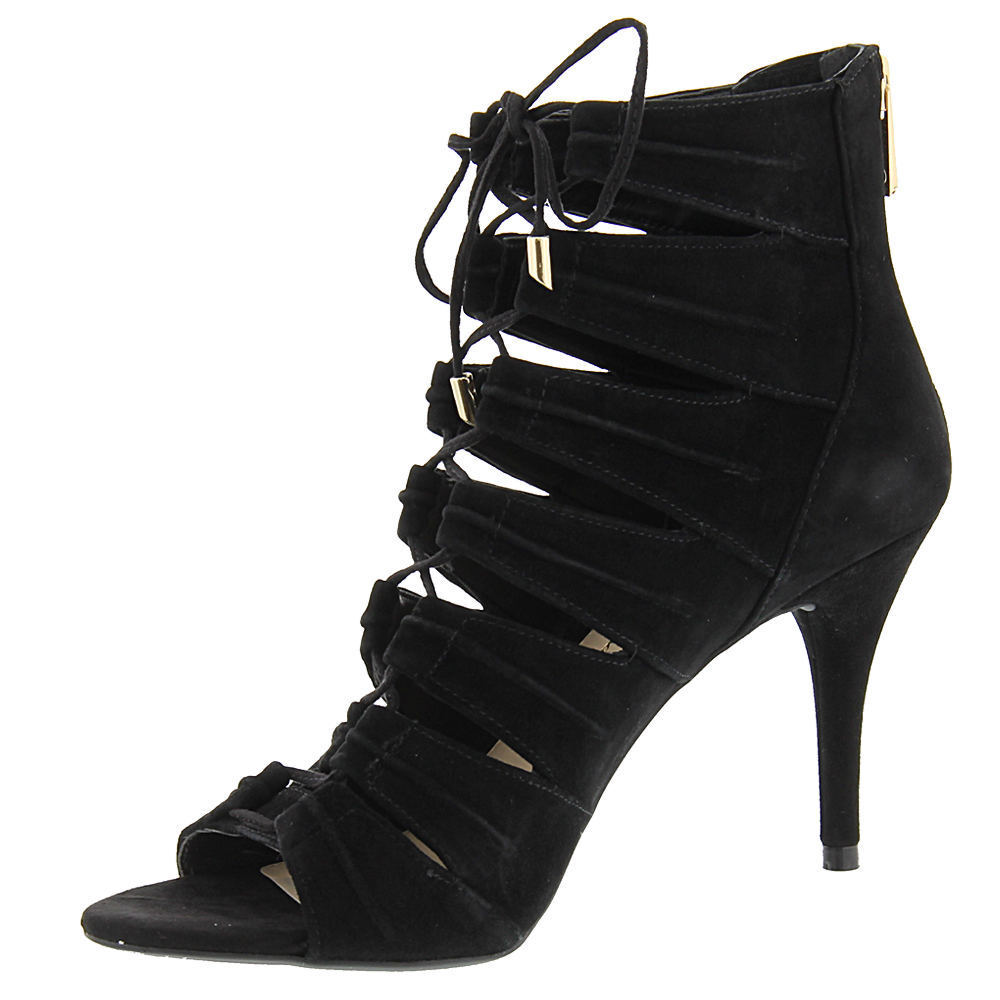 Jessica Simpson Mahiri 9 Black Suede Open toe Ankle Stilettos Dress Pump Sandals