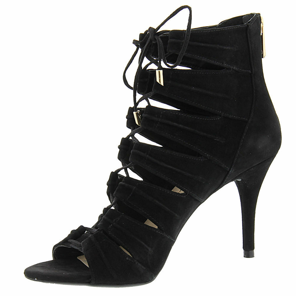 Jessica Simpson Mahiri 7.5 Black Suede Open-toe Stiletto Dress Pump Ankle Sandal