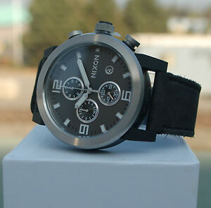 NIB-NIXON-RIDE-MENS-WATCH-black-face-silver-frame-black-leather-band-450