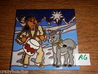 Ceramic Tile 6x6 Christmas Native American Little Drummer Boy W/mule A6