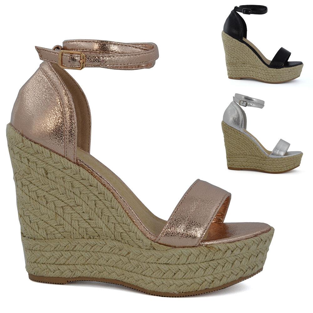 Mujer Alto Plataforma Con Cuña Sandalias de tacón mujer Tira en Tobillo Peep toe