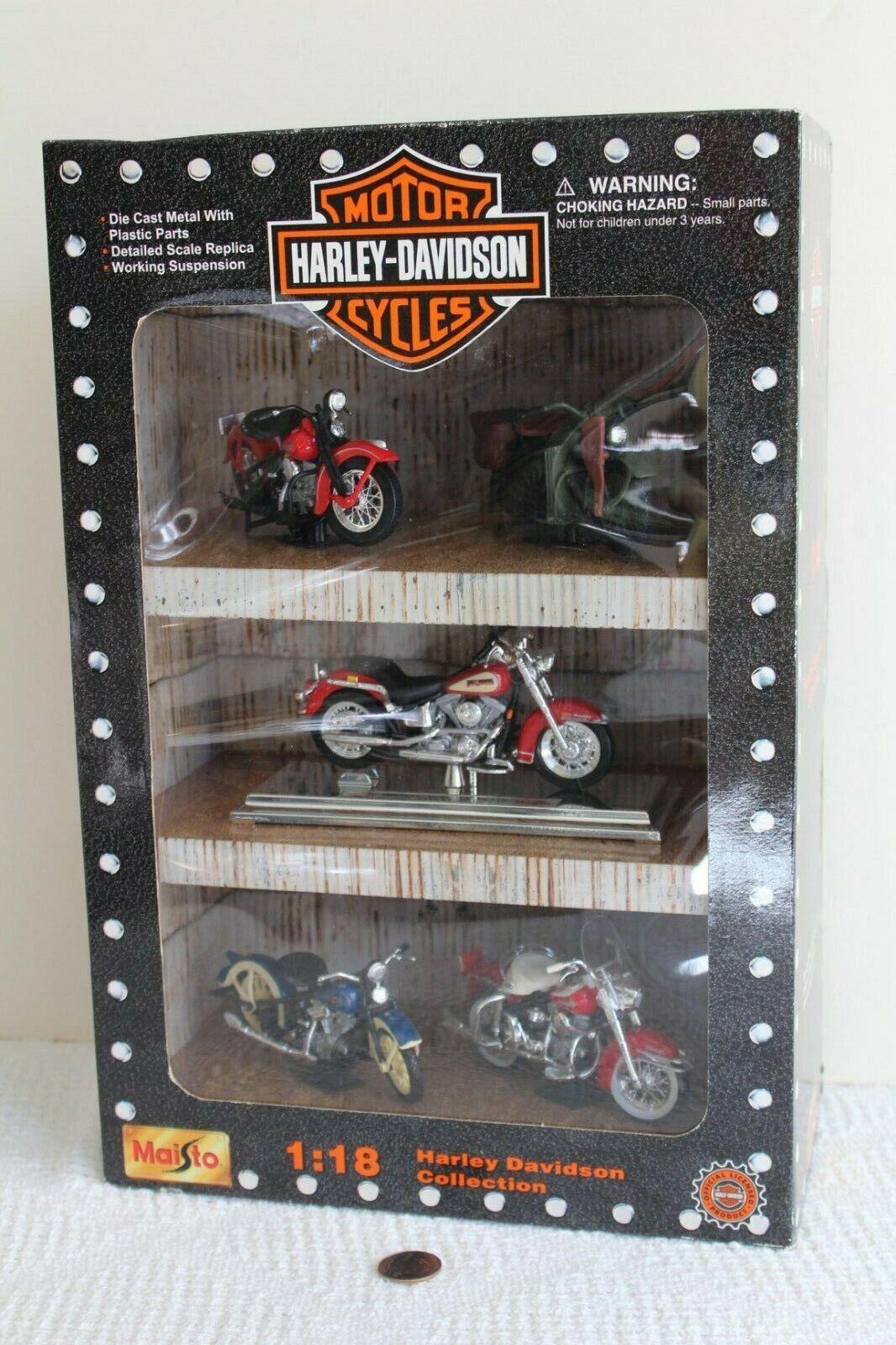 Harley Davidson 1 18 Maisto Die Cast 5 Piece Collection 1999 NEW SEALED BOX MISB