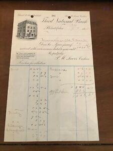 1885 Third National Bank Philadelphia PA Credit Receipt